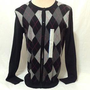 ❤️❤️5/$20 Merona Argyle Sweater Black Pink. NWT
